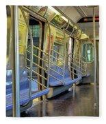 New York City Empty Subway Car Fleece Blanket