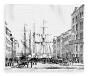 New York Docks, 1856 Fleece Blanket