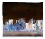 New York Skyline Illustration 1 Fleece Blanket