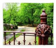 New York's Central Park Winterdale Arch Railing Cast Iron Art Fleece Blanket