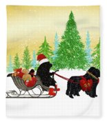 Newfoundland Dog Christmas Fleece Blanket