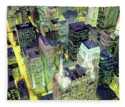 Night, Chicago, Illinois, Usa Fleece Blanket