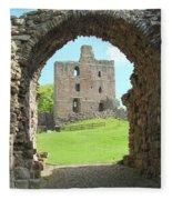 Norham Castle And Entrance Gate Fleece Blanket