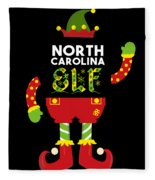 North Carolina Elf Xmas Elf Santa Helper Christmas Fleece Blanket