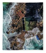 North Curl Curl Headland And Pool Fleece Blanket by Chris Cousins