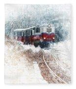 Northern European Train Fleece Blanket