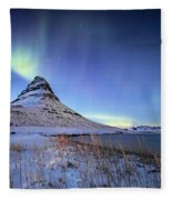 Northern Lights Atop Kirkjufell Iceland Fleece Blanket by Nathan Bush