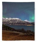 Northern Lights Over Grytoya Fleece Blanket