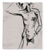 Nude Model Gesture Xxi Fleece Blanket
