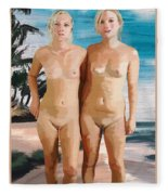Nude Twins Fleece Blanket