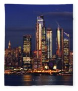 Nyc Sundown Gold And Twilight Skies Fleece Blanket