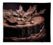 Oak Tree Still Life Fleece Blanket
