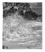 Ocean Wave Splash In Black And White Fleece Blanket