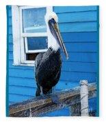 Oceanside Pelican Right  Fleece Blanket