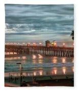 Oceanside Pier At Dusk Fleece Blanket