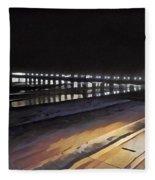 Oceanside Pier At Night  Fleece Blanket