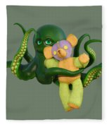 Octopus Green And Bear Fleece Blanket