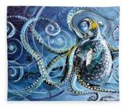 Octopus Of Nine Brains Fleece Blanket