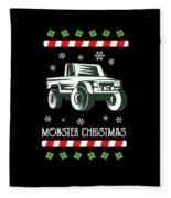 Offroad Monster Truck Christmas Xmas Winter Holidays Fleece Blanket