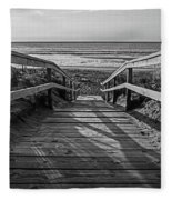 Ogunquit Beach Footbridge At Sunrise Ogunquit Maine Black And White Fleece Blanket