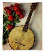 Old Banjo And Roses Fleece Blanket