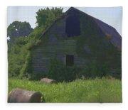 Old Barn And Hay Bales 2 Fleece Blanket