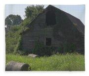 Old Barn And Hay Bales 3 Fleece Blanket