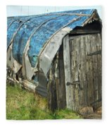 old boat hut at Lindisfarne island Fleece Blanket