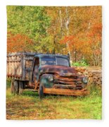 Old Farm Truck Fall Foliage Vermont Square Fleece Blanket