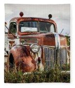 Old Fire Truck In The Mountains Fleece Blanket