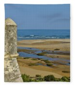 Old Fortress Guarding Tower In Portugal Fleece Blanket