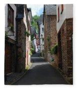 old historic street in Ediger Germany Fleece Blanket
