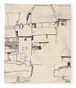 Old Houses In Krumau        Fleece Blanket
