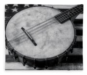 Old Mandolin Banjo In Black And White Fleece Blanket