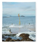old pier at North berwick and Forth estuary Fleece Blanket