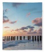 Old Pier Pilings II Fleece Blanket by Brian Jannsen
