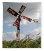 Old Rusty Windmill. Fleece Blanket