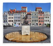 Old Town Market Square Of Warsaw In Poland Fleece Blanket
