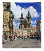 Old Town Square Prague Czech Republic  Fleece Blanket