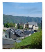 old town walls and church and buildings of Cochem Fleece Blanket