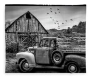 Old Truck At The Barn Bordered Black And White Fleece Blanket