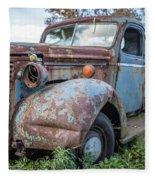 Old Vintage Blue Pickup Truck Among The Weeds Fleece Blanket