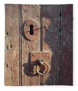 Old Wooden Door And Keyhole Fleece Blanket