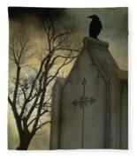 Ominous Clouds Surround Crow Fleece Blanket