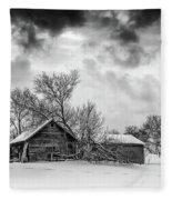 On A Winter Day Monochrome Fleece Blanket