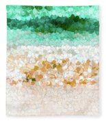 On The Beach Abstract Painting Fleece Blanket