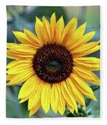 One Bright Sunflower Fleece Blanket