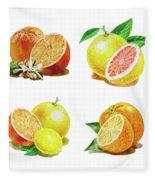Orange Grapefruit Lemon Watercolor Fruit Illustration Fleece Blanket