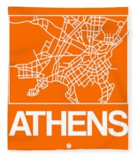 Orange Map Of Athens Fleece Blanket