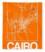 Orange Map Of Cairo Fleece Blanket